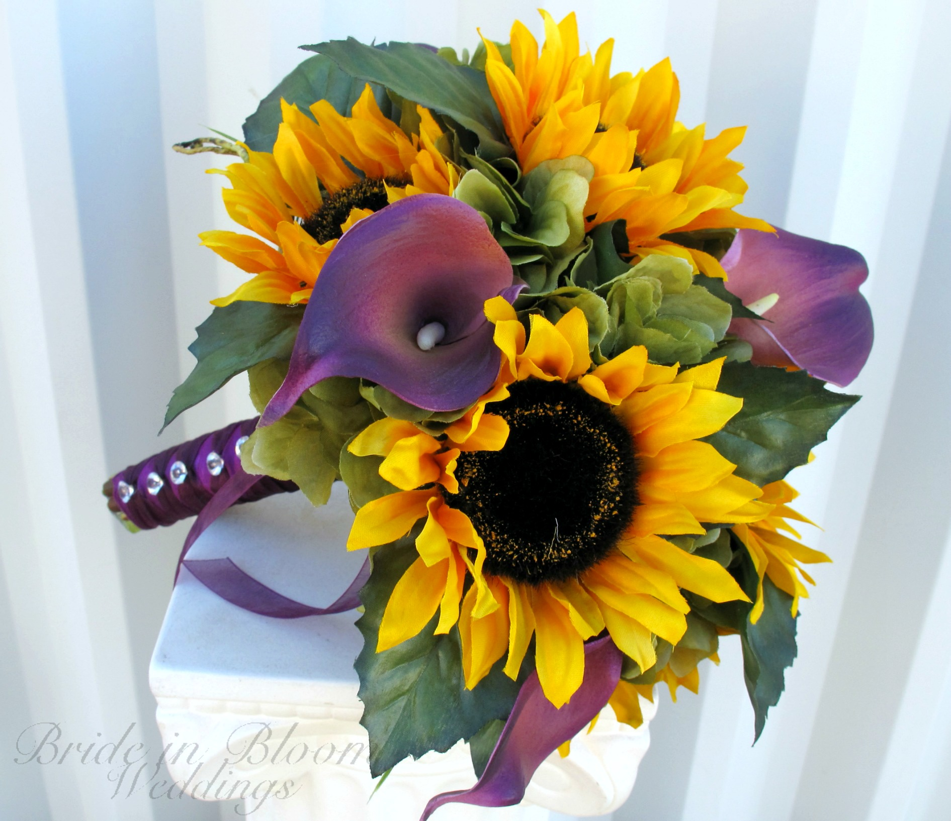 Bridesmaid Bouquets Sunflowers : Bridal bouquet sunflower purple calla lily silk wedding