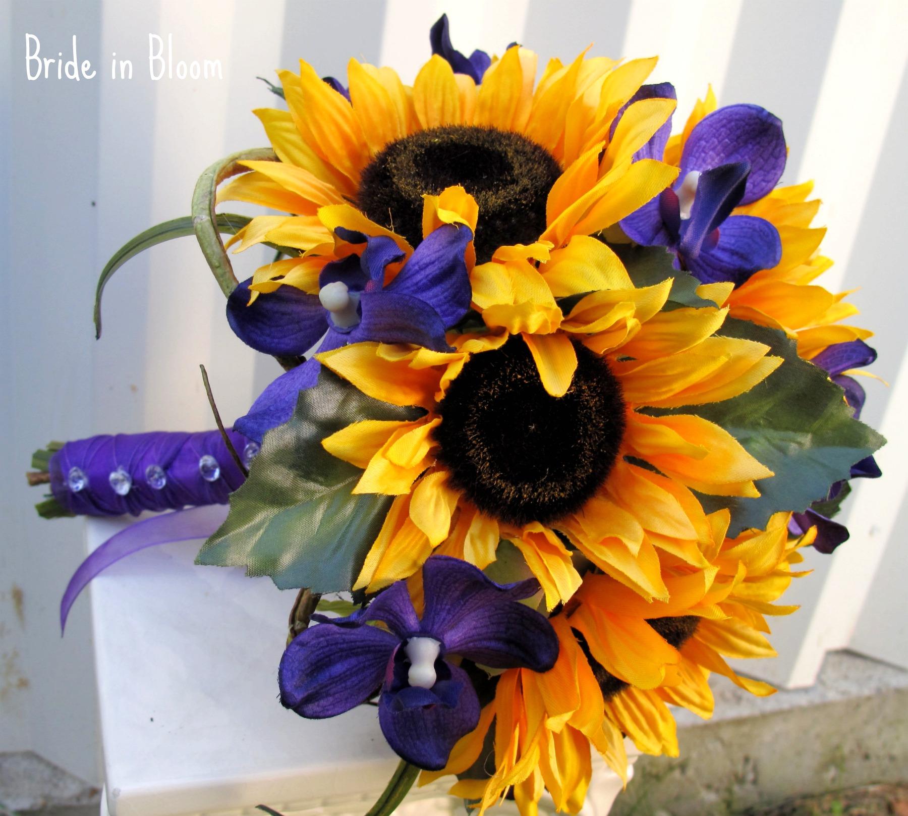 Sunflower Wedding Bouquet Rustic Country Bridal Bouquet Silk