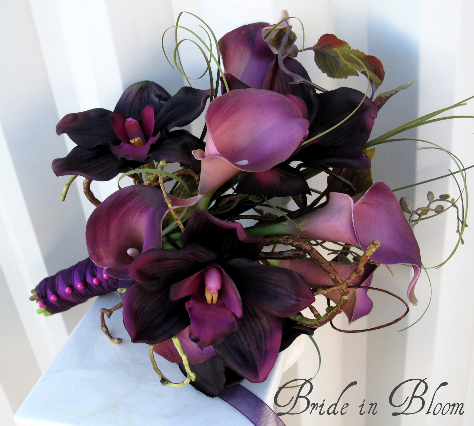 purple calla lily wedding bouquet plum orchid calla wedding bouquet in bloom 6884