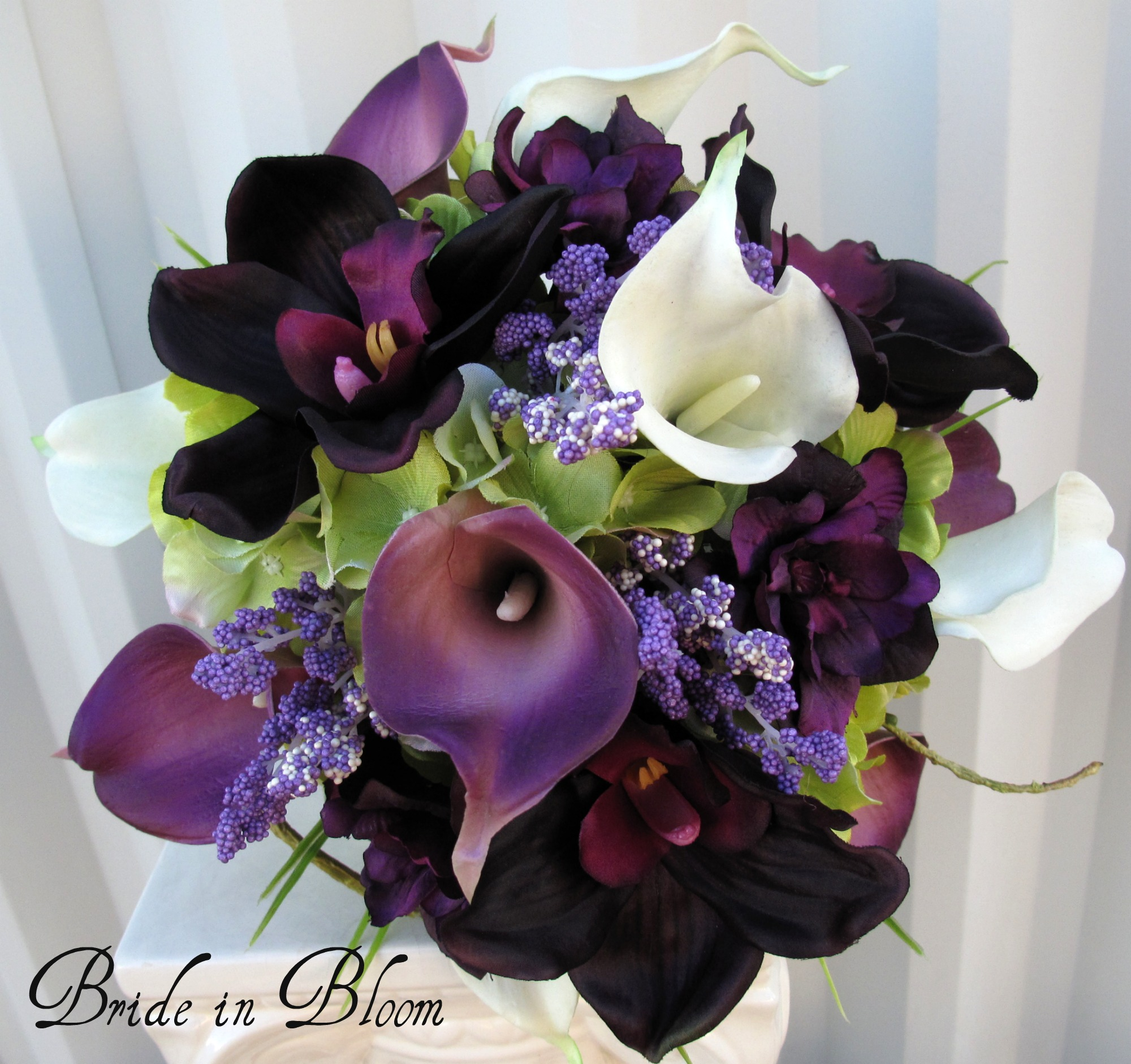 Plum calla brides bouquet real touch lily orchid
